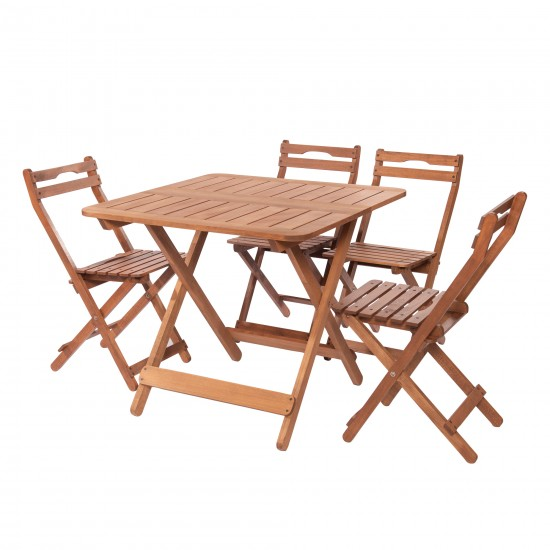 GRUP - K 108-Modermo Ahşap Katlanır Masa (80*80)cm.(1 Adet)+ 110-Modermo Ahşap Katlanır Sandalye(4 Adet)